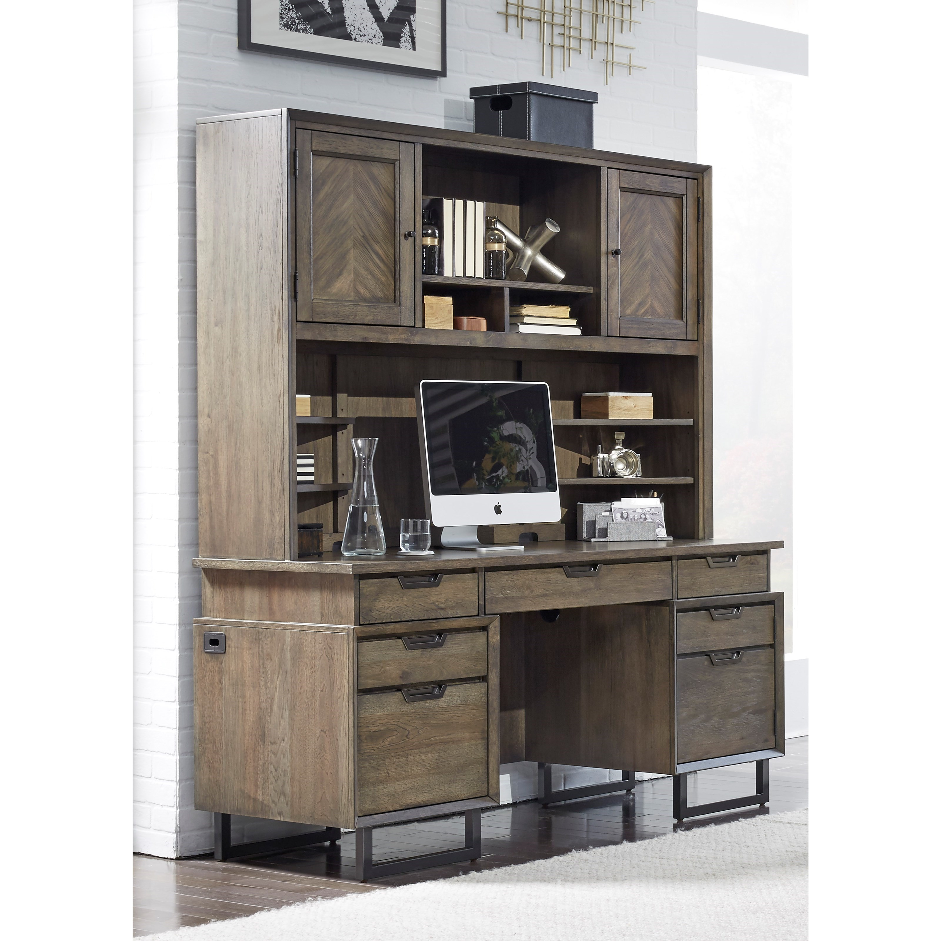 Contemporary Desk and Hutch with USB and Outlets