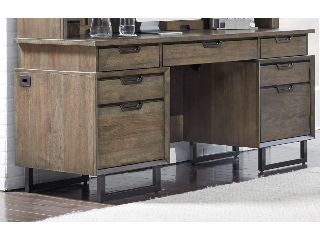 Aspenhome Harper PointCredenza Desk Shown With Coordinating Hutch