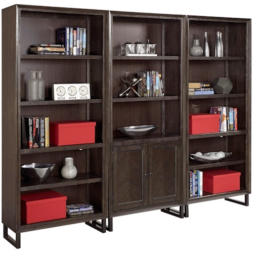 Aspenhome Harper Point Contemporary Bookcase Set with Adjustable Shelves