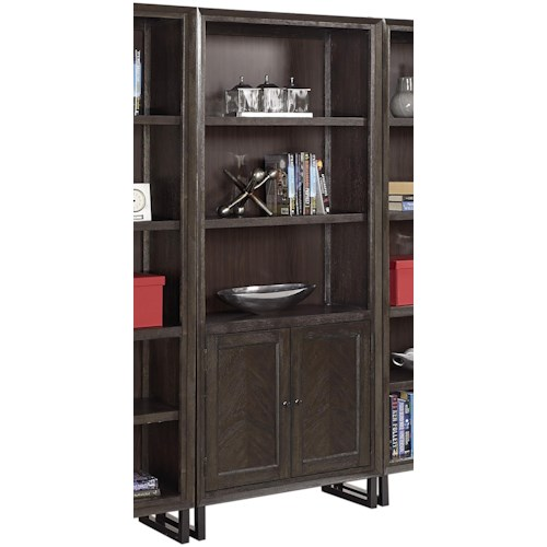 Aspenhome Harper Point Contemporary Bookcase with Concealed Storage and Adjustable Shelves