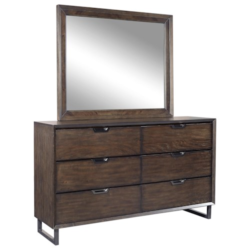 Aspenhome Harper Point Contemporary 6 Drawer Dresser and Mirror with Felt-Lined Top Drawers