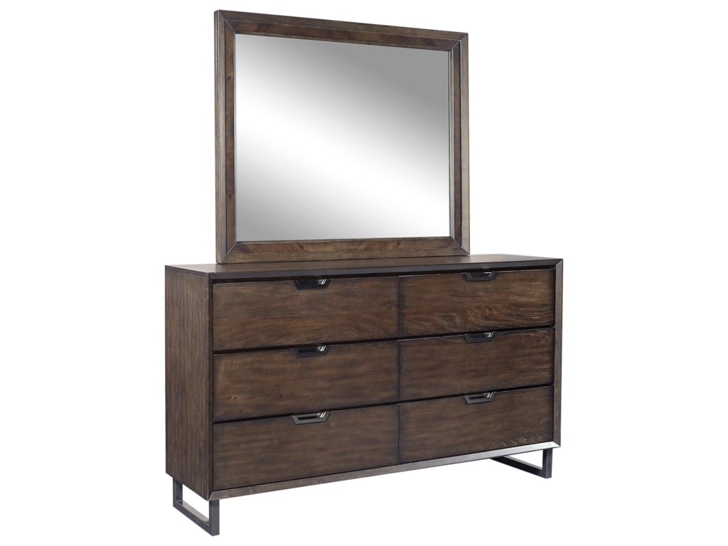 Aspenhome Harper Point6 Drawer Dresser and Mirror