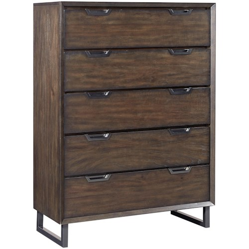Aspenhome Harper Point 5 Drawer Contemporary Chest with Felt Lined Top Drawer