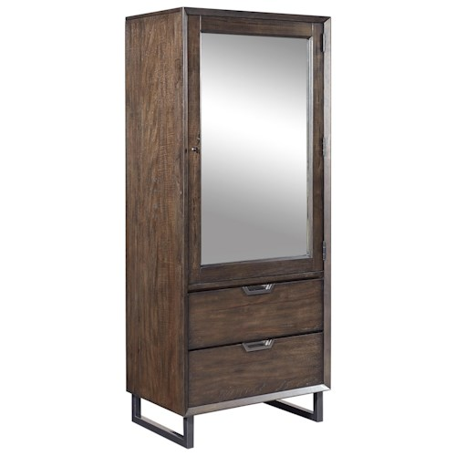Aspenhome Harper Point Tall Contemporary Door Chest with Mirror