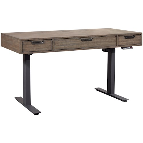 Aspenhome Harper Point Contemporary Adjustable Lift Desk with a Keyboard Drawer, Outlets, and USB Ports