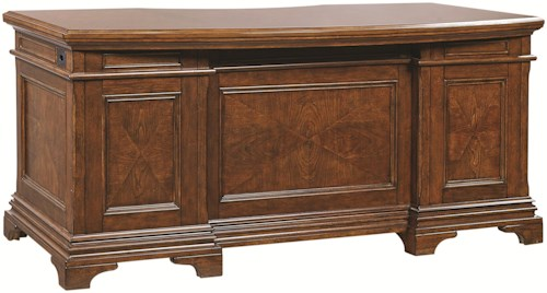 Aspenhome Hawthorne 72-Inch Curved Top Executive Desk with 4 Utility Drawers and Felt-Lined Top Drawers