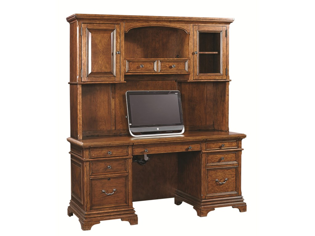 Aspenhome Hawthorne74-Inch Credenza Desk and Hutch