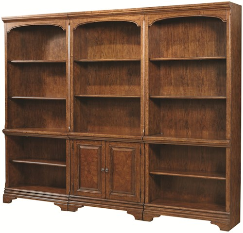 Aspenhome Hawthorne Bookcase Wall with 1 Door Bookcase and 2 Open Bookcases