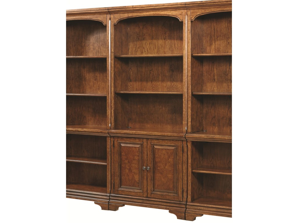 Hawthorne Open Bookcase With 4 Shelves And Two Small Panel Doors By Aspenhome At Rotmans