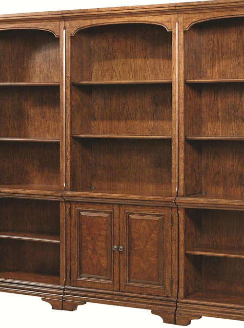 Aspenhome Hawthorne Open Bookcase with 4 Shelves and Two Small Panel Doors