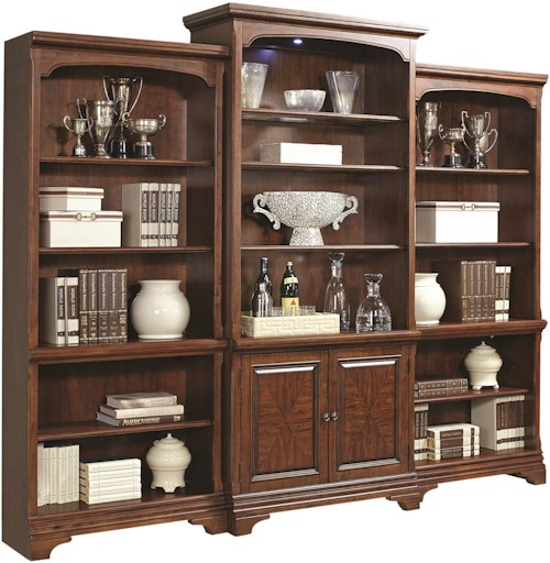 Aspenhome Hawthorne Bookcase Wall Unit with Glass Shelves and Touch Lighting