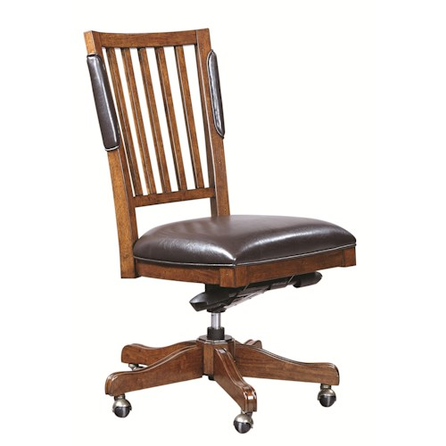 Aspenhome Hawthorne Office Chair with Bonded Leather Seat and Five-Star Base