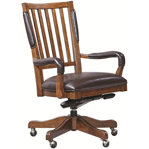 Aspenhome Hawthorne Office Chair with Arms and Bonded Leather Seat and Five-Star Base