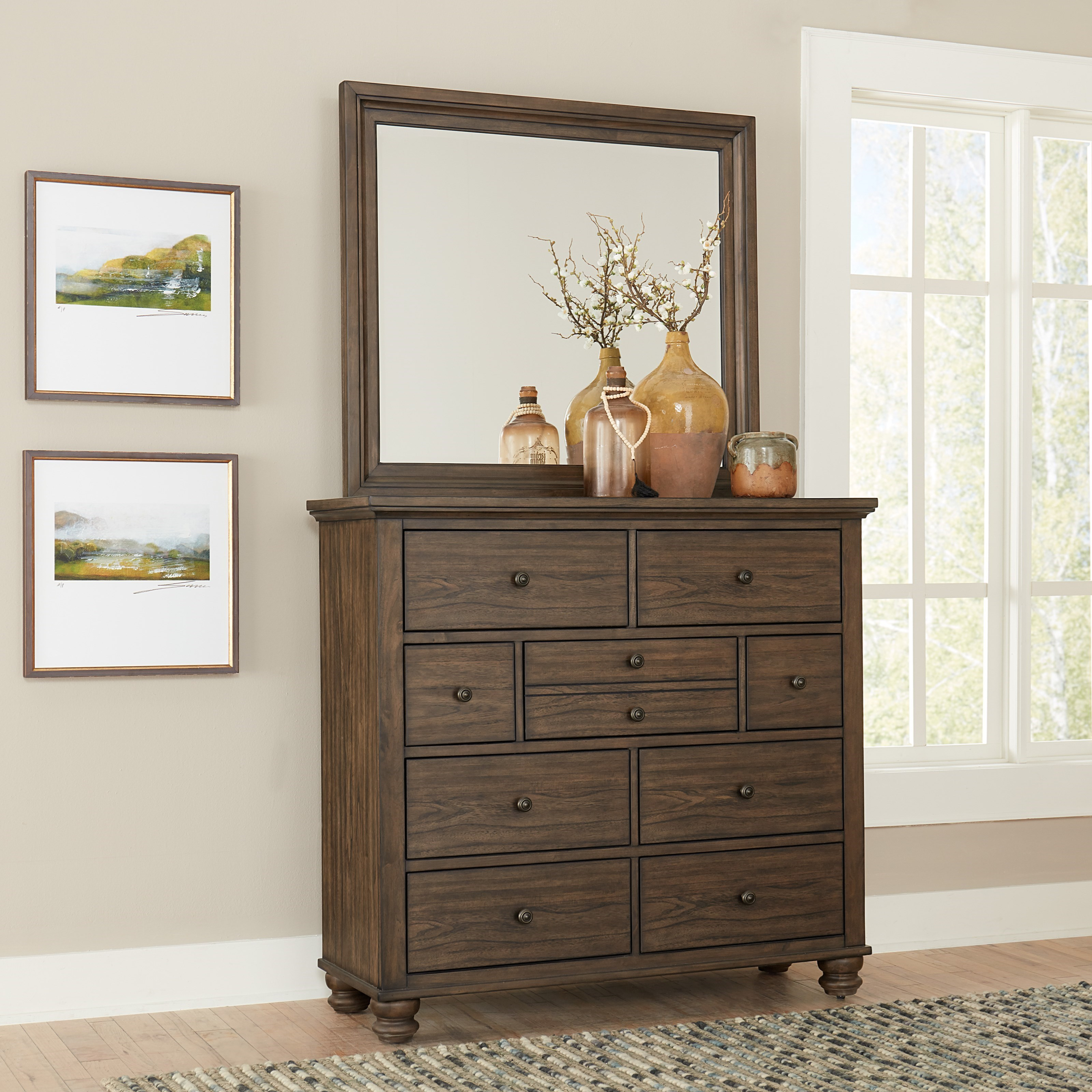 Transitional Chest and Mirror Combination with 10 Drawers