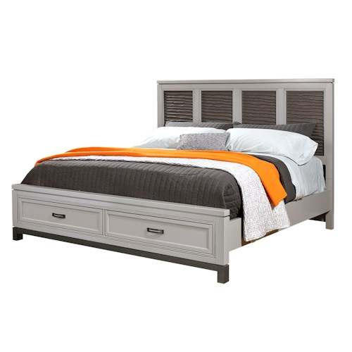 Aspenhome Hyde Park King Liquid Fret Panel Bed with Storage