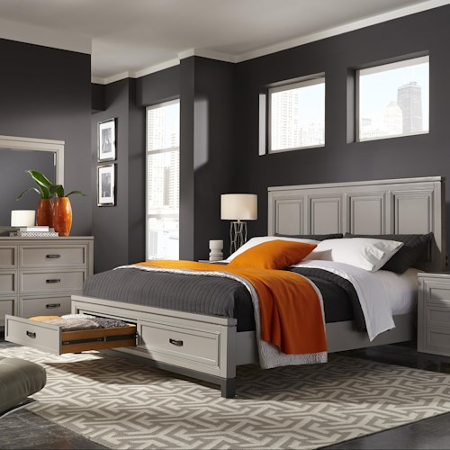 Aspenhome Hyde Park King Painted Panel Bed with Storage
