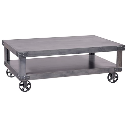 Aspenhome Industrial  Cocktail Table with Shelf