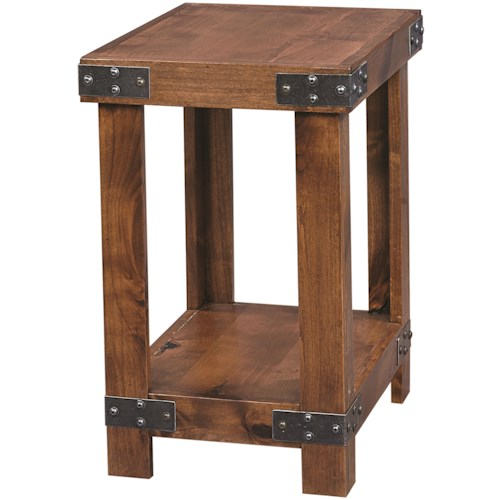 Aspenhome Industrial Chairside Table with Metal Accents