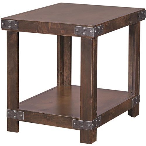 Aspenhome Industrial End Table with Shelf