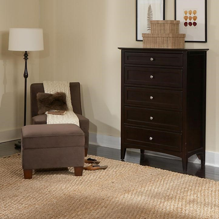 Chest of Drawers Shown with Chair and Ottoman
