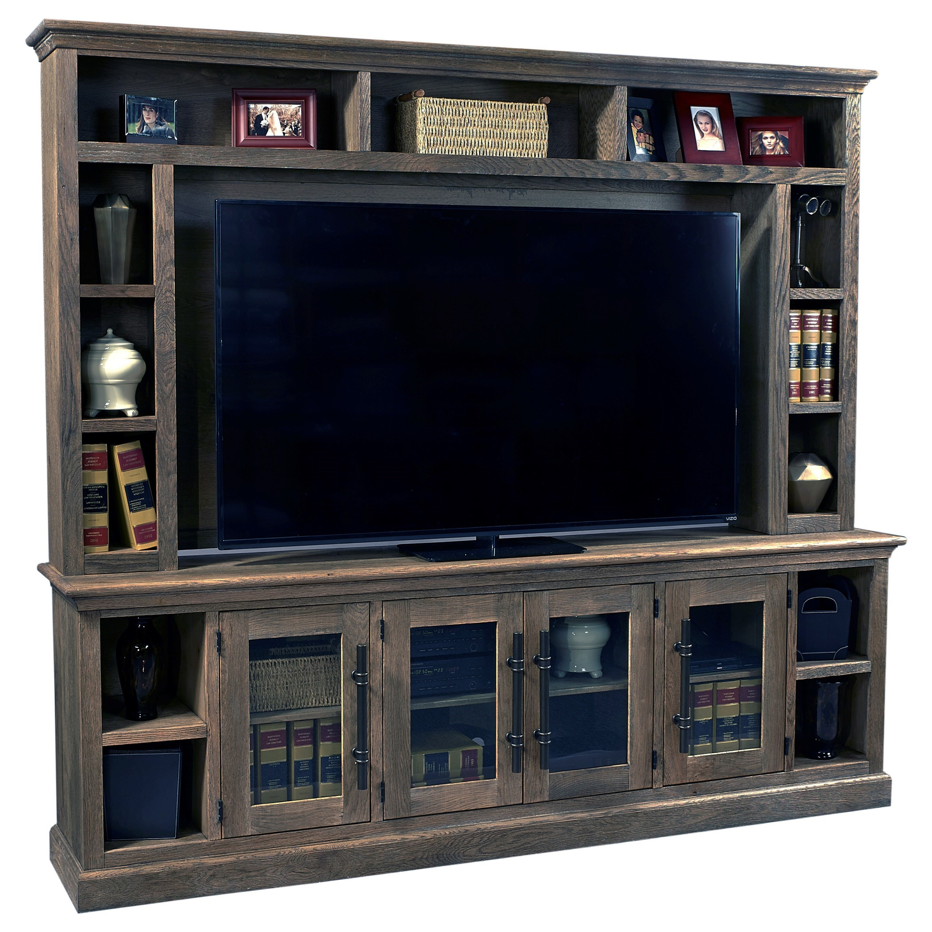 """97"""" Console and Hutch with Glass Doors"""