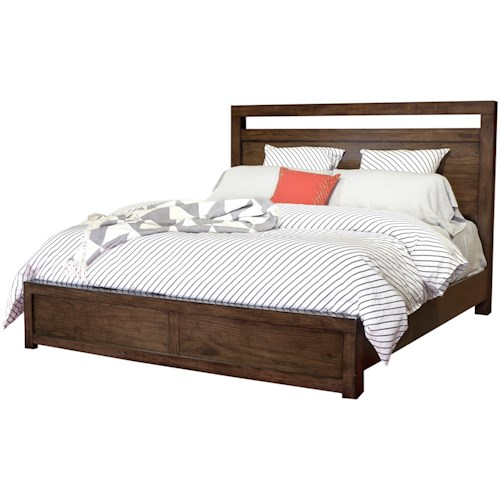 Aspenhome Modern Loft Queen Panel Bed With USB Charging