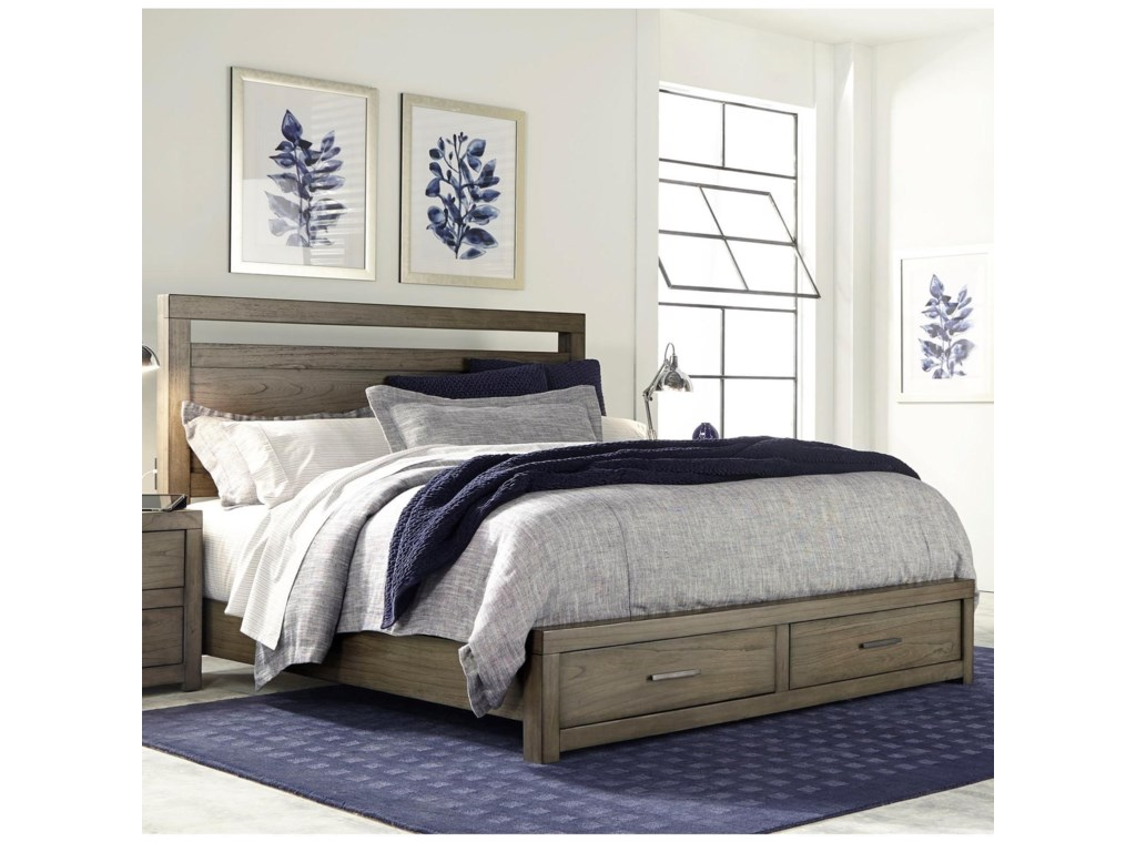 Aspenhome Modern LoftCal King Panel Storage Bed