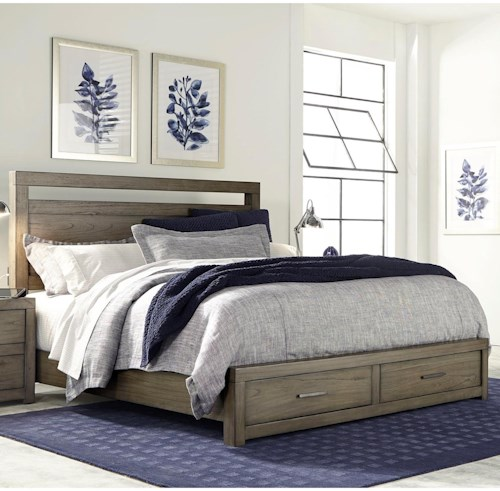 Aspenhome (Clackamas Store Only) Modern Loft California King Panel Storage Bed with USB Charging Outlets