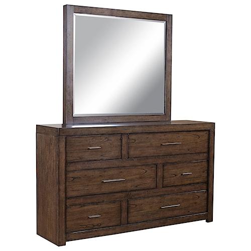 Aspenhome Modern Loft Asymmetrical Dresser and Mirror Set