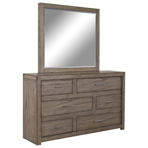 Aspenhome Modern Loft Asymmetrical Dresser and Mirror Set