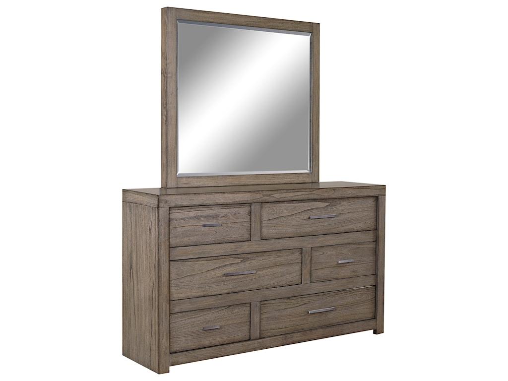 Aspenhome Modern LoftDresser and Mirror Set