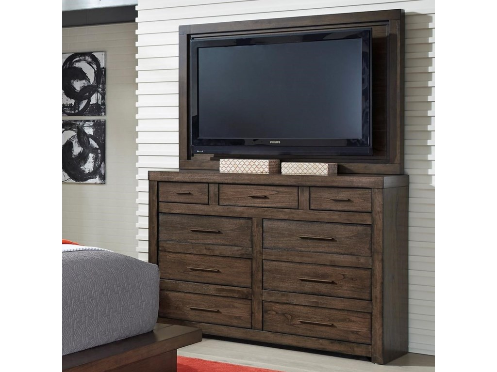 Modern Loft Media Chest With Tv Mount And Drop Front Drawer