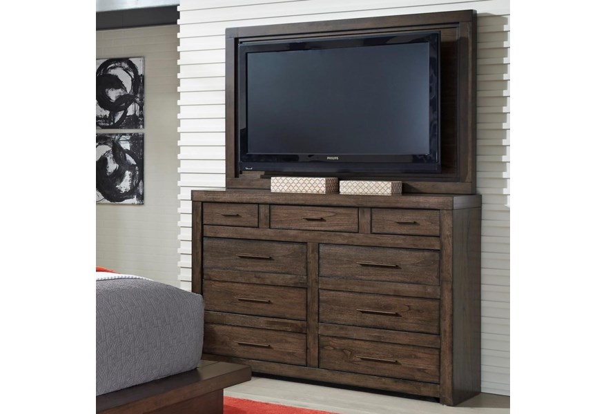 Modern Loft Media Chest With Tv Mount And Drop Front Drawer By Aspenhome At Dunk Bright Furniture