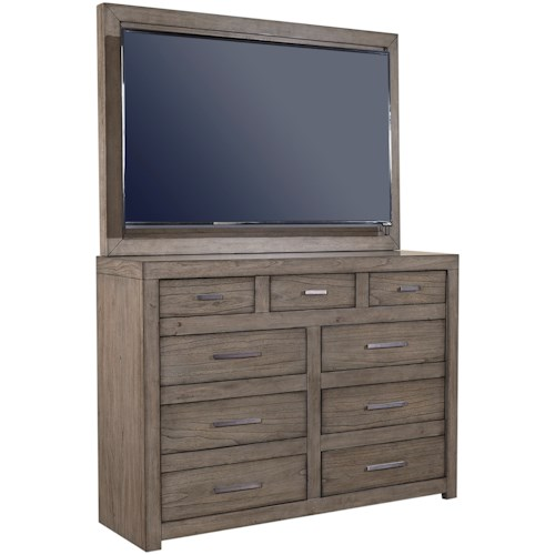 Aspenhome Modern Loft Media Chest with TV Mount and Drop-Front Drawer