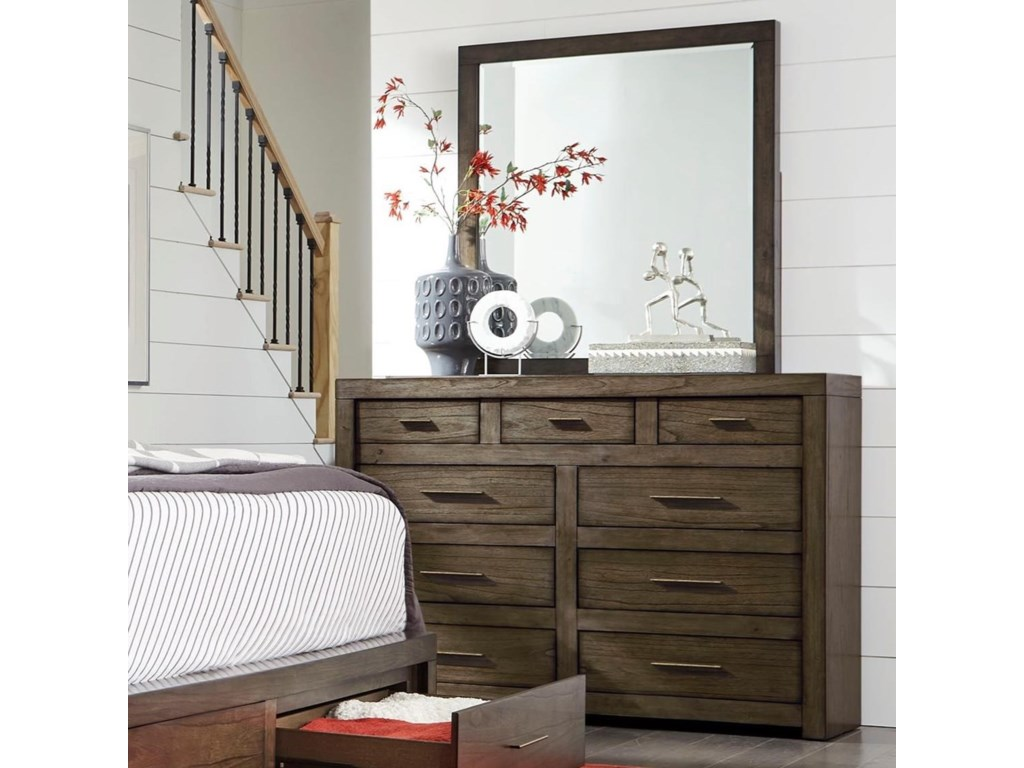 Aspenhome Modern LoftChesser and Mirror Set