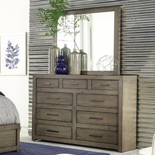 Aspenhome Modern Loft Chesser and Mirror Set with Drop-Front Drawer