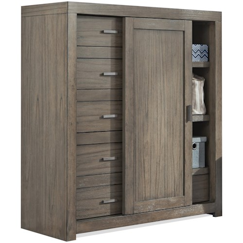 Aspenhome Modern Loft Sliding Door Wardrobe Chest with Cedar-Lined Bottom Drawer