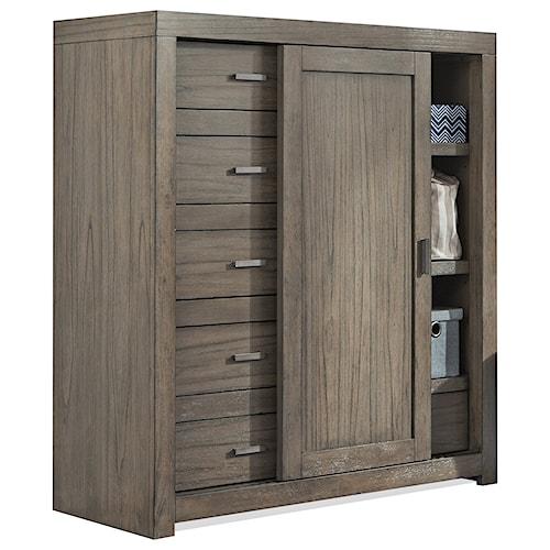 Aspenhome Modern Loft Sliding Door Wardrobe Chest with Cedar-Lined Bottom Drawer