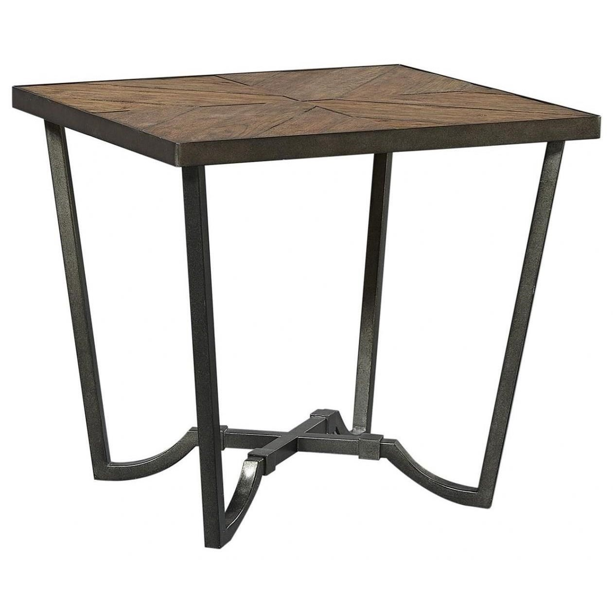 Transitional End Table with Wood Top