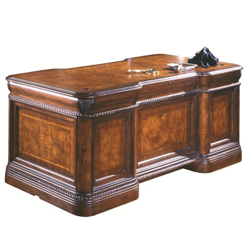 Aspenhome Napa  7 Drawer Executive Desk with Ash Burl Panels and Rope Moulded Base