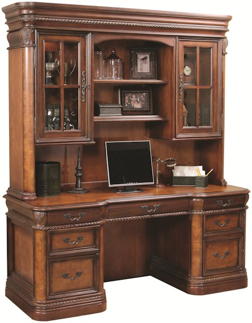Aspenhome (Clackamas Store Only) Napa  72-Inch Kneehole Computer Credenza & Display Hutch with Three-Way Touch Lighting