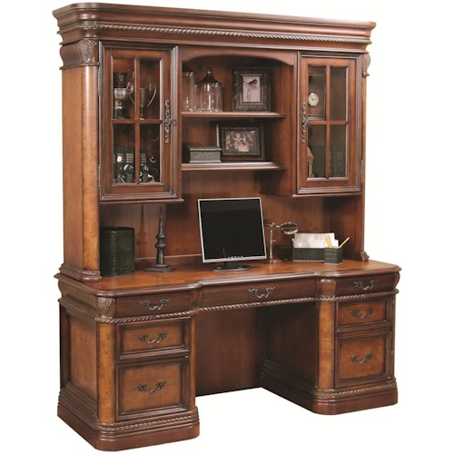 Aspenhome Napa  72-Inch Kneehole Computer Credenza & Display Hutch with Three-Way Touch Lighting