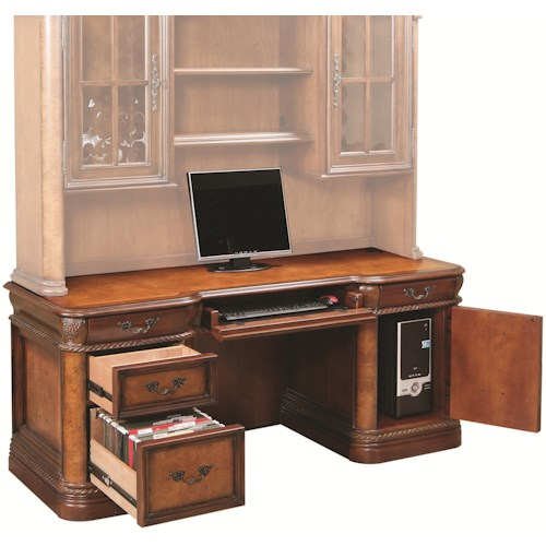 Aspenhome Napa  Traditionally Styled Double Pedestal Kneehole Credenza with Locking File Drawer and CPU Storage