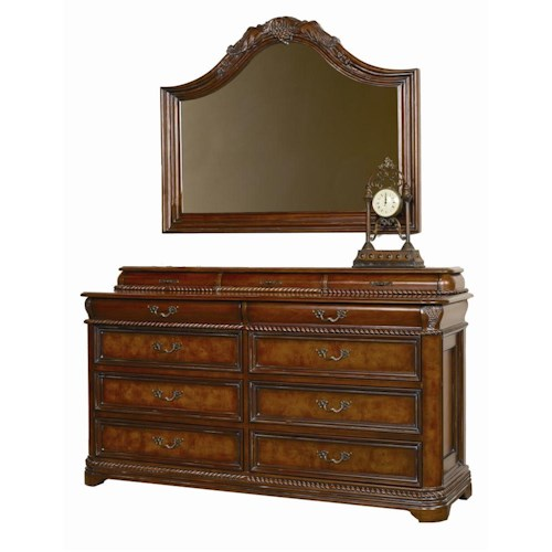 Aspenhome Napa  Traditionally Moulded 8 Drawer Master Dresser & Arched Landscape Mirror Set