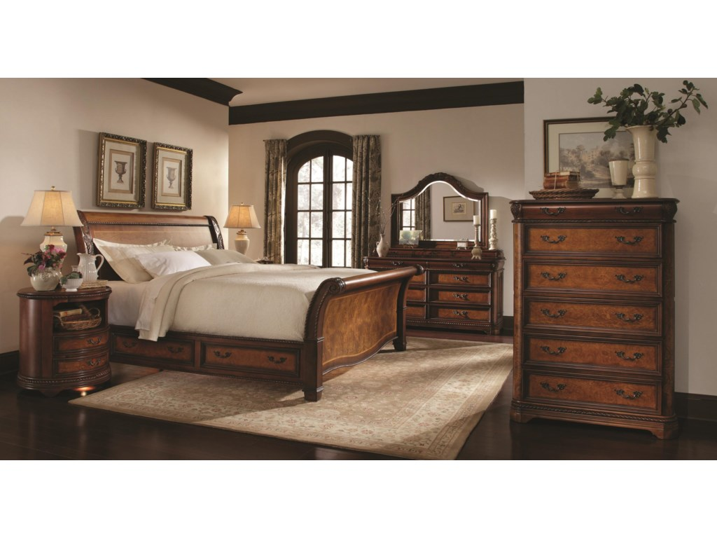 Shown with Arched Landscape Mirror, Nightstand, Storage Sleigh Bed and Drawer Chest