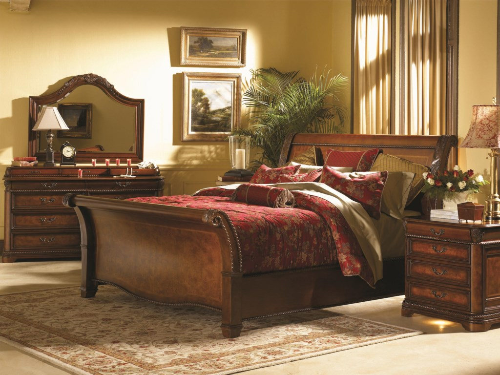 Shown with Arched Landscape Mirror, Sleigh Bed and Nightstand