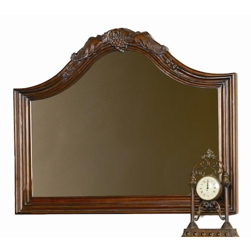 Aspenhome Napa  Arched Landscape Mirror with Grape Leaf Crown Moulding
