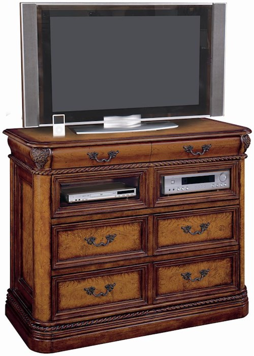 Aspenhome Napa  3 Drawer Entertainment Chest with Drop Front Component Storage and Rope Moulded Base and Top
