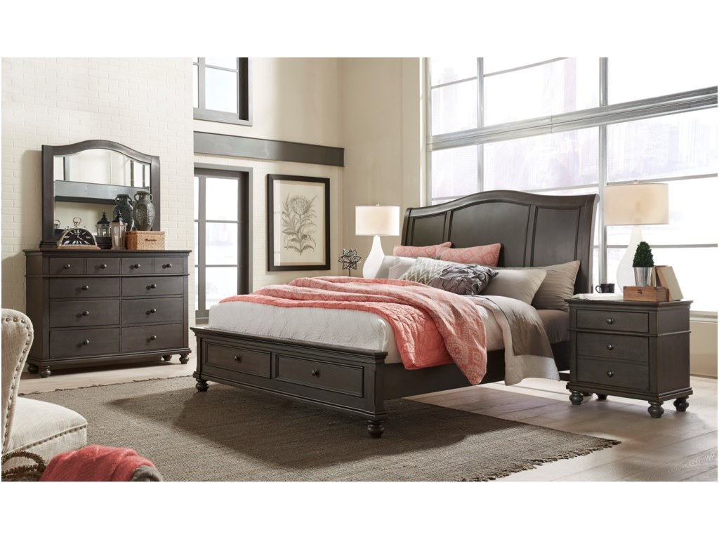 Aspenhome OxfordQueen Sleigh Storage Bed