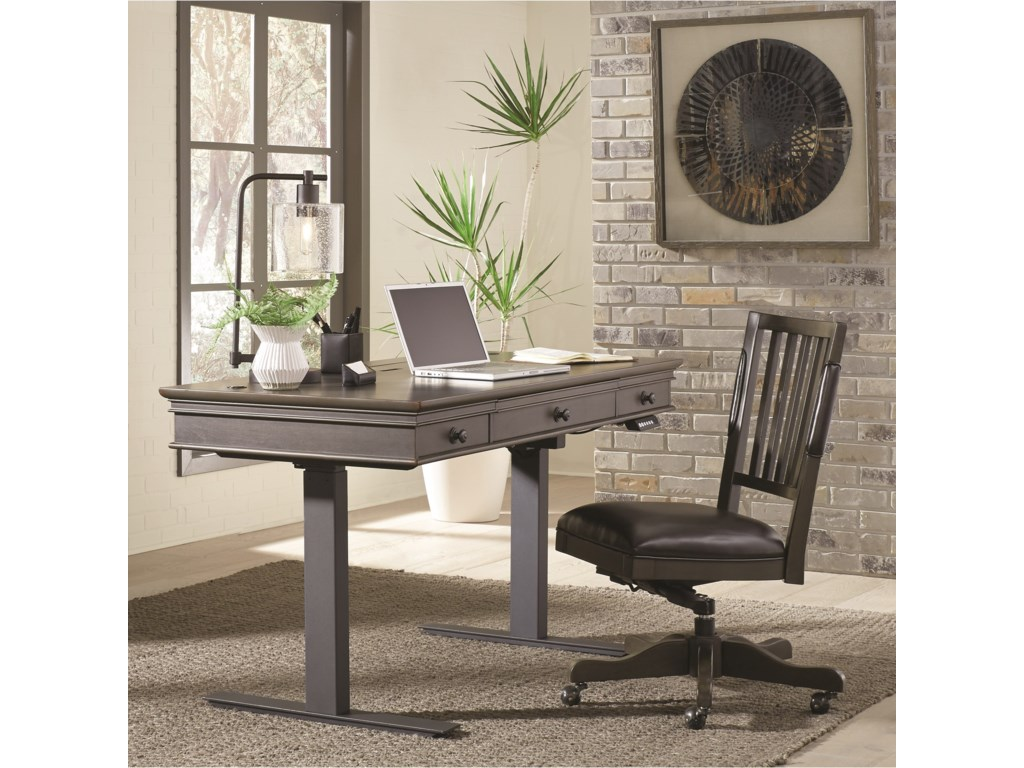 Aspenhome OxfordLift Desk with Outlets and USB Ports
